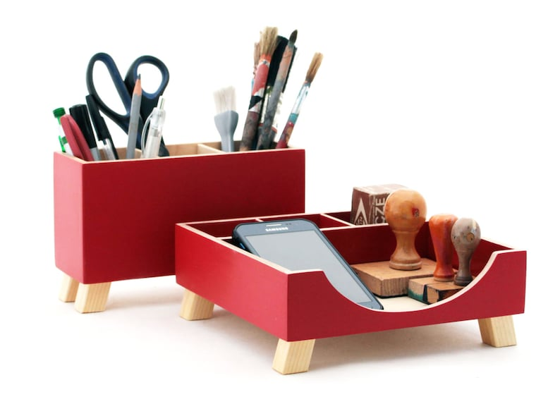 Red Desk Organizer Desk Accessories For Office Desktop Organizer Red Wood Desk Set Desk Pen Holder Command Center Tidy Kids Desk Set