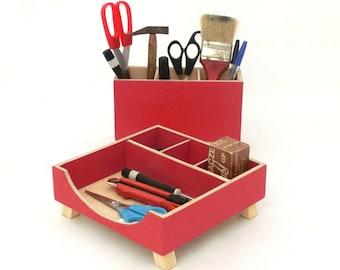 Desk Wood Organizer Red Acrylic Paint, Woden Desk Office Accessories, Wooden Modern Desk set, Red Desktop box, Tidy Desk, Mothers day gift