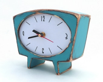 Desk Clock Turquoise Wood Unique clock Blue Green Table clock, Wooden Mantle clock, Cute Handmade clock, Spring Blue Green decor, for Mom