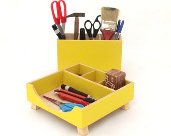Yellow Desk Organizer, Wood Desk Accessories, Desktop Office organizer, Box Set, Acrylic paint Yellow Wood, Tidy desk, gift for Mother