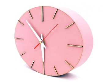 FREE SHIPPING Wall Clock, Powder Pink Wood clock, Wall clock Rouge, Wall hanging ellipse Clock for Her, Pink wall decor, Summer sale