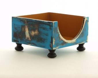 NAPKIN holder blue /mustard, Wooden napkin holder, Kitchen decor Rustic style, Cottage style, Shabby Chic, Wedding table decor, Mothers day