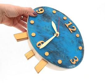 Wood Clock, Gold Blue Table Clock, Desk Ellipse Distressed clock, Oval Mantel clock, Blue decor, Gold Sky Blue, Wedding gift