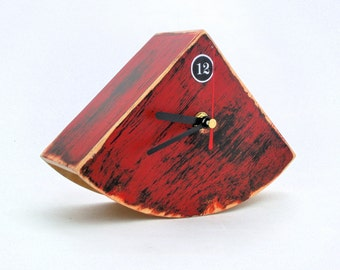 Red Table clock, Wood Desk Distressed Mantle clock, Black Red Clock, Rustic style Unique gift, Wooden Office decor, Mothers day gift