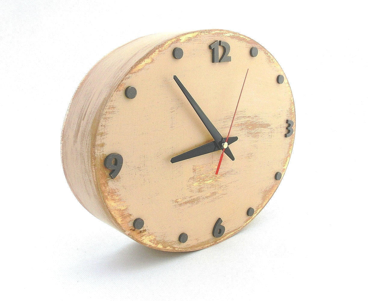 Tan Beige Wall clock, Ellipse Wall hanging clock, Back to school ...