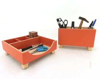 Wood Orange Desk Organizer, Desk Accessories for office, Pen Stand Desktop Organizer, School Desk Wood set, Office Accessories, Pen holder