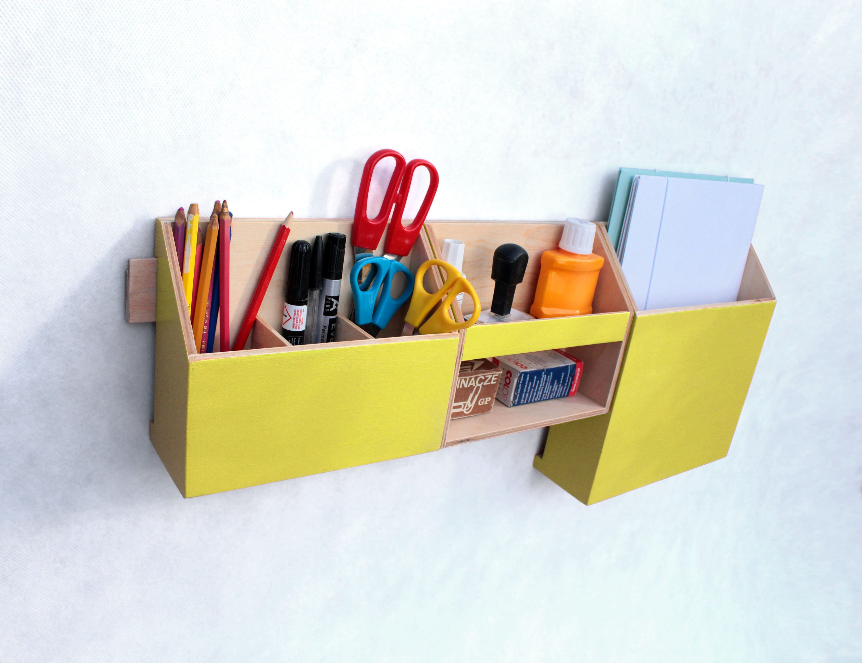 Yellow Wall Organizer, Wood Mail Organizer, Wall hanging Pen holder ...