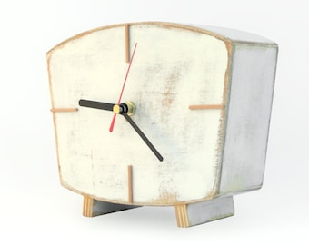 White Desk clock, Handmade Wood Clock, Vintage Style 60s Table clock, Home decor Wooden gift, Spring home decor, Mothers day gift