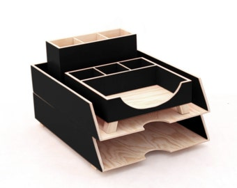Black Wood Desk Organizer, Desk Accessories, Black Office decor, Pen holder, Paper sorter tray, Hand Crafted  and Painted  Home office set