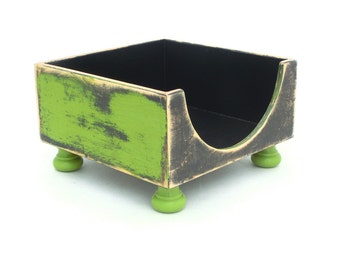 Apple Green Napkin holder, Wood Tabletop box, Table Napkin holder green black, Rustic style, Cottage style, Shabby Chic for Her, Green decor