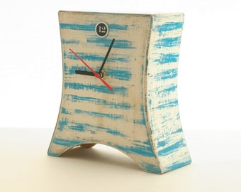 Desk Clock marine, Blue stripes, Nautical clock, Wooden Naval Clock, Summer clock, Table clock, Desk Clock, Distressed clock, Summer decor