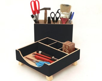 Wood Desk Organizer Black Acrylic Paint, Desk Accessories, Desktop Organizer set, Office Desk Accessories, Black Office decor, Pen holder