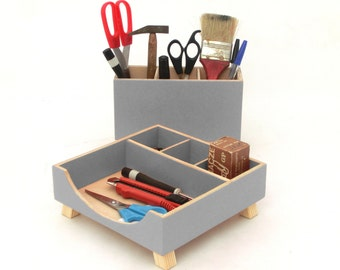 Gray Desk Organizer, Desk Accessories for office, Desktop Organizer, Desktop Wood set, Desk  Accessoriesfor woman, School kids desk