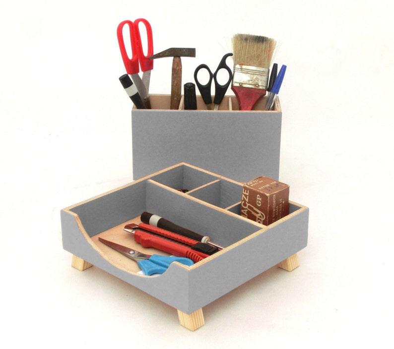 gray desk organizer desk accessories for office desktop etsy rh etsy com