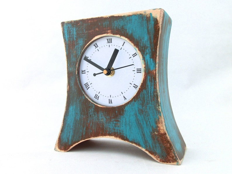 Tremendous Silent Quiet Desk Clock Turquoise Brown No Ticking Table Wood Clock Arrow Blue Green Distressed Mantle Clock Summer Rustic Style Download Free Architecture Designs Scobabritishbridgeorg