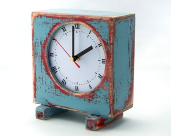 NO TICKING Desk clock Turquoise blue, Sky blue Pink,  QUIET / Silent Wood Table Clock, Unique wood clock, Back to school, Summer trends