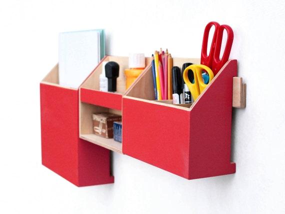 Mur organisateur de bois rouge bureau de poste mur situé etsy