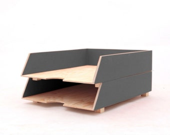 Gray Paper Tray Holder, Oganizer set, Desk Office Accessories, 2 Stages Desk Tray, Grey Paper Sorter, for Mom, Wood Paper tray stackable