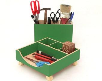 Green Desk Organizer, Green Desktop Organizer, Desktop Set, Wooden Desk set, Office Accessories, Pen holder, School kids desk, Tidy on Desk
