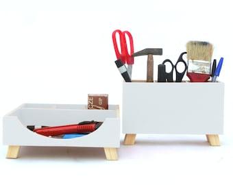 White Wood Desk Organizer, Wood Desktop set, Office Desk Accessories, Pen holder, Command Center, Kids Tidy Desk, Student desk, White decor