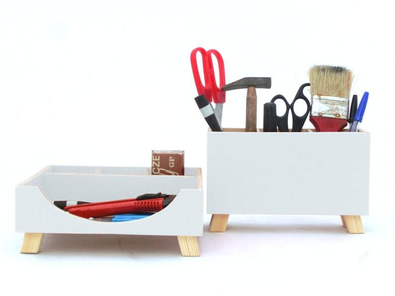 White Wood Desk Organizer Wood Desktop Set Office Desk Etsy