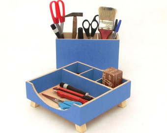 Ink Blue Organizer wood, Desk set, Office toolbox set, Wooden blue desk organizer for her, Blue student desktop, Office Desk command center