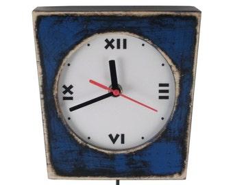 Pendulum Wall Clock, Navy Blue Wall hanging clock, Blue Wood Clock, Unique clock with Pendulum, Wall decor for home,Fall decor trends