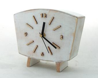 Table Clock, Desk White Wood clock, Vintage Style 60s, Unique Wooden gift, Mantle clock, Summer white decor, Wedding gift, Summer sale