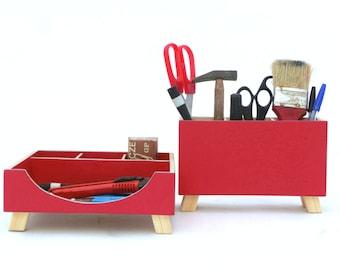 Red Desk Wood Organizer, Desktop Organizer set, Office Accessories for Desk, Ruby Red Kids Desk set, Tabletop Office set Red decor, for Mom