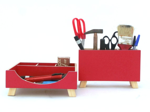 Bureau bois rouge accessoires de bureau bureau organisateur rouge