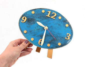 SILENT Desk Wood Clock, Gold Blue Table NO TICKING Clock, Ellipse Distressed Oval Mantel clock, Blue decor, Gold Sky Blue, Wedding gift