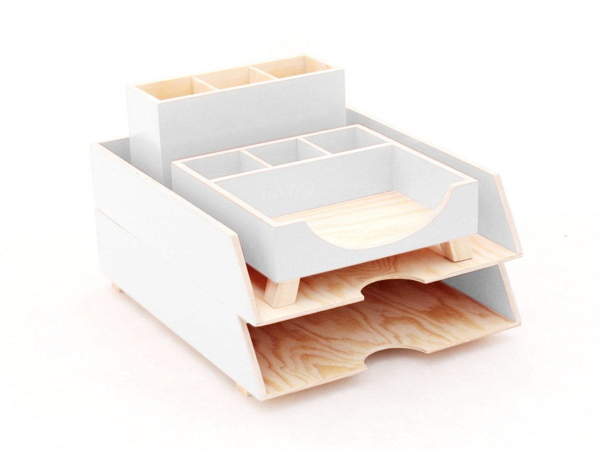Wood Desk Organizer Set For Office White Pen Holder And Paper