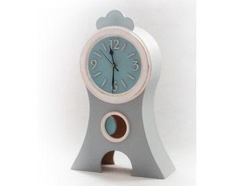 "Grey Pendulum clock, Mora style Clock NO TICKING, Pastel Gray Blue, Shabby chic Table Clock, Desk Kids Room Decor, 17"" Height"