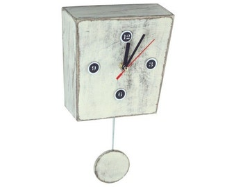 White Clock with Pendulum, Wall decor clock, Wall hanging handmade Distressed wooden clock, Black Friday gift, Xmas trends