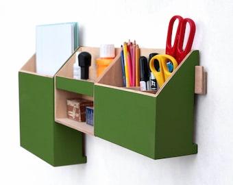 Wall Wood Organizer Forest Green, Mail holder, Office Desk organizer, Modern shape pen holder, Office Mail Storage set, Green wall decor