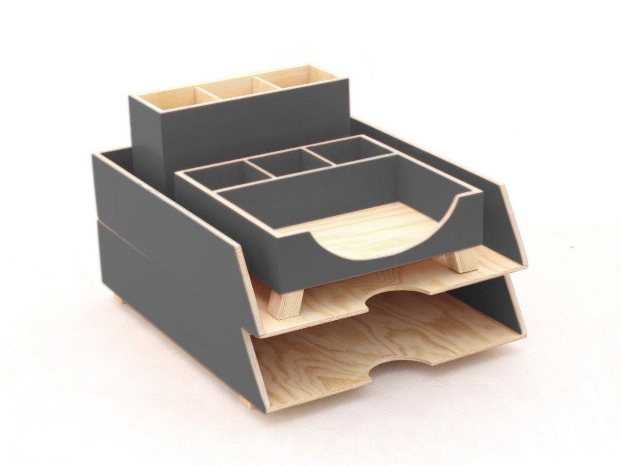 Grey Desk Organizer Office Desk Accessories Set Paper Tray Office