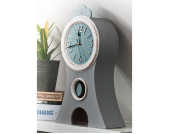 """NO TICKING Pendulum Wood clock, Gray Pastel Blue, Mora style Clock, Shabby chic Table Clock, Chalky Color Paint Kids Room Decor, 17"""" Height"""