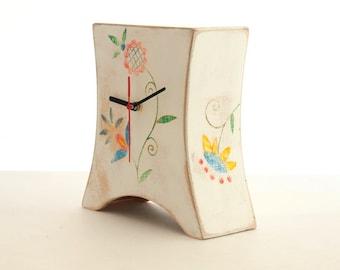 Desk White Wood Clock, Mantel clock, Folk art, Mantle clock, Table Wood clock, Wood art, Summer Floral decor, Hand paint flower ornament