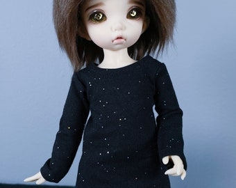 LTF or YoSD Black Dress with Sparkles | BJD Clothes | Ball Jointed Doll Clothes | Littlefee Clothes | Honey Delf Dress