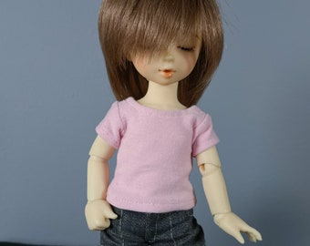 LTF or YoSD Pink Short Sleeve Shirt | BJD Clothes | Ball Jointed Doll Clothes | Littlefee Clothes | Honey Delf Shirt