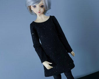60cm BJD | Black with Sparkles Long Sleeve Dress | SD Clothes | SD13 Dress | 60cm Ball Jointed Doll Clothes | Super Dollfie | Delf | Feeple