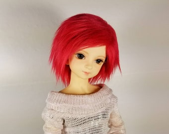 """8.5-9/"""" 22-23cm BJD fabric fur wig Red Extended hair for 1//3 bjd dolls"""