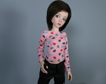MNF Pink with Hearts Shirt | Slim Mini Clothes | Slim 1/4 | Minifee Clothes | Unoa Clothes | Dollzone TShirt | Ball Jointed Doll