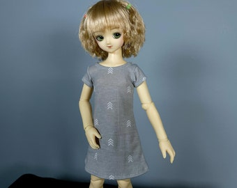 MSD Dress | Short Sleeve Grey Dress with White Pattern | Ball Jointed Doll Clothes | Mini Super Dollfie | Kid Delf | 1/4 BJD Clothes