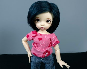 LTF or YoSD Pink Shirt with Butterflies and Hearts | BJD Clothes | Ball Jointed Doll Clothes | Littlefee Clothes | Honey Delf Shirt