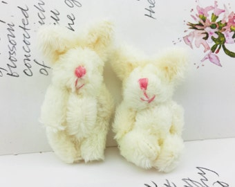 1pair Extra Fluffy Cream Rabbit Miniature Toy (5cm)