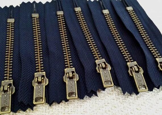 """4 /"""" 8/"""" Negro O Azul Marino Comprar a granel de latón Jean cremalleras X 10"""