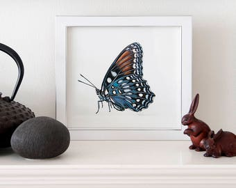 ORIGINAL miniature painting of a red spotted purple
