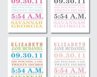 Birth Announcement Print -- Modern Typography -- Baby Girl -- 8 x 10