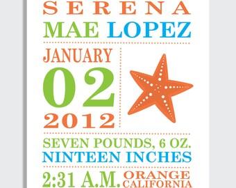 Baby Announcement Print -- STARFISH --  8 x 10 , 11 x 14, 13 x 19